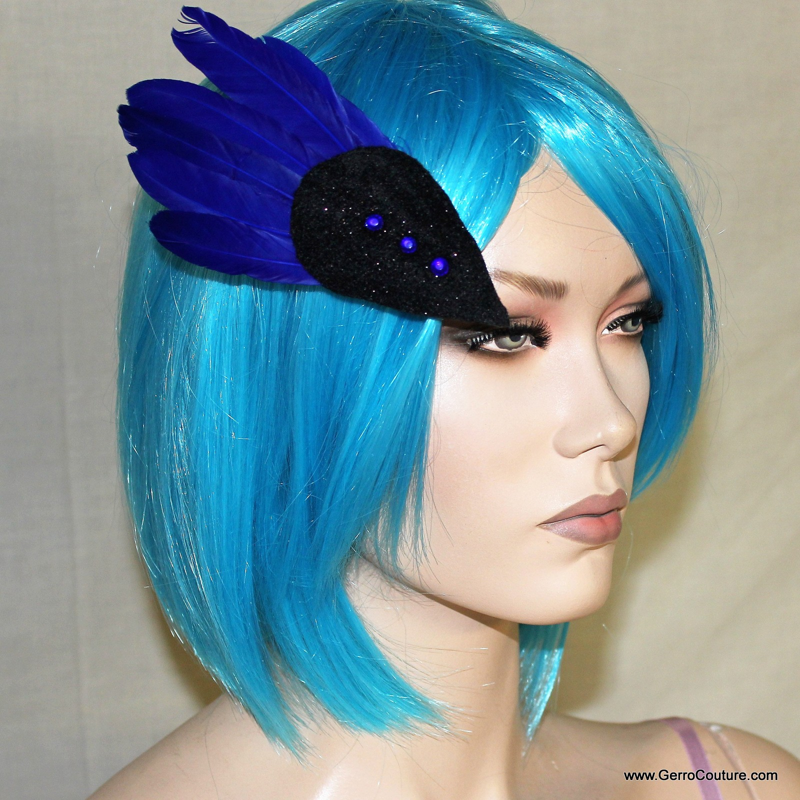 Blue Feathered Hair Clip 9787